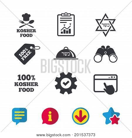 Kosher food product icons. Chef hat with fork and spoon sign. Star of David. Natural food symbols. Browser window, Report and Service signs. Binoculars, Information and Download icons. Stars and Chat stock photo