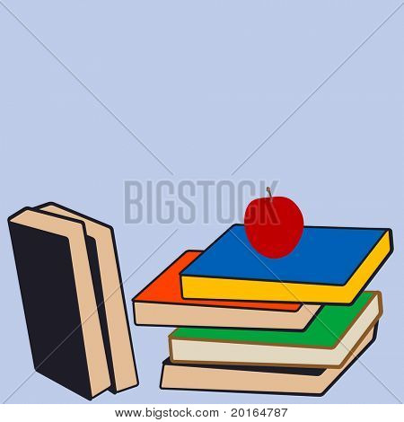 stack of books with apple on top stock photo