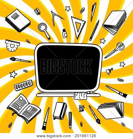 Stationery collection. Outline style. Comics pop-art style empty blackboard. Back to school thin line vector doodle illustration template isolated on twisted background. Sketchy vector backpack and stationery for graphic design, web banner and printed mat stock photo