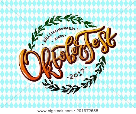 Oktoberfest logotype. Oktoberfest celebration vector banner. Bavarian festival Oktoberfest text. Munich design national ribbon vector illustration. Happy Oktoberfest lettering typography colorful sign stock photo