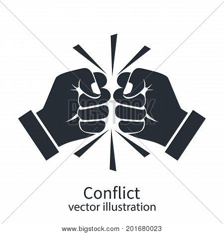 Conflict concept black silhouette. Two fists clenched in a dispute. Disagreements of businessmen. Business conflict pictogram, debate. Vector design. Isolated on white background. stock photo