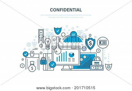 Confidential information. Encryption and data protection. Protection of data integrity, security of finance and financial operations, secrecy. Illustration thin line design of vector doodles.