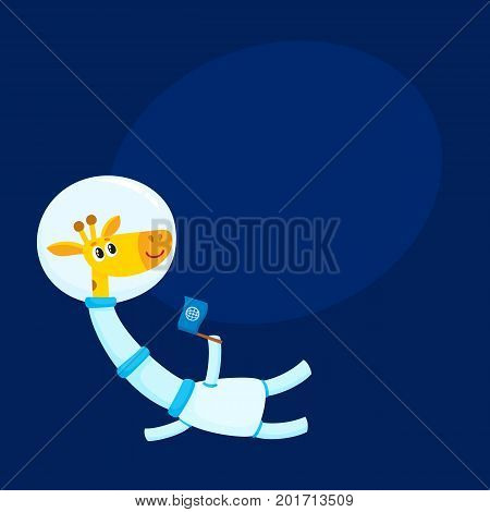 Cute giraffe astronaut, spaceman character wearing space suit, holding a flag, cartoon vector illustration with space for text. Funny giraffe astronaut, spaceman floating in open space stock photo