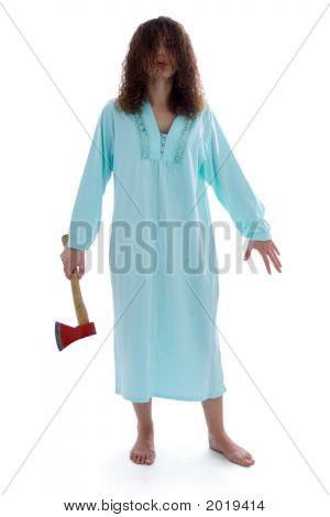 Dangerous insane woman walking with axe (isolated on white) stock photo