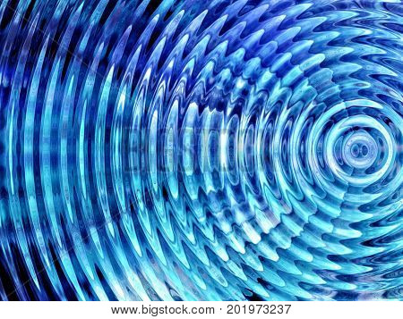 Resonate ,spread, vibration or ripple abstract in blue. stock photo