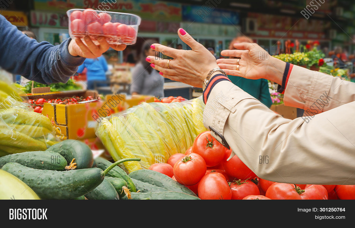 Woman Buying Fresh And Organic Fruits And Vegetables At The Green Market Or Farmer Agricultural Mark