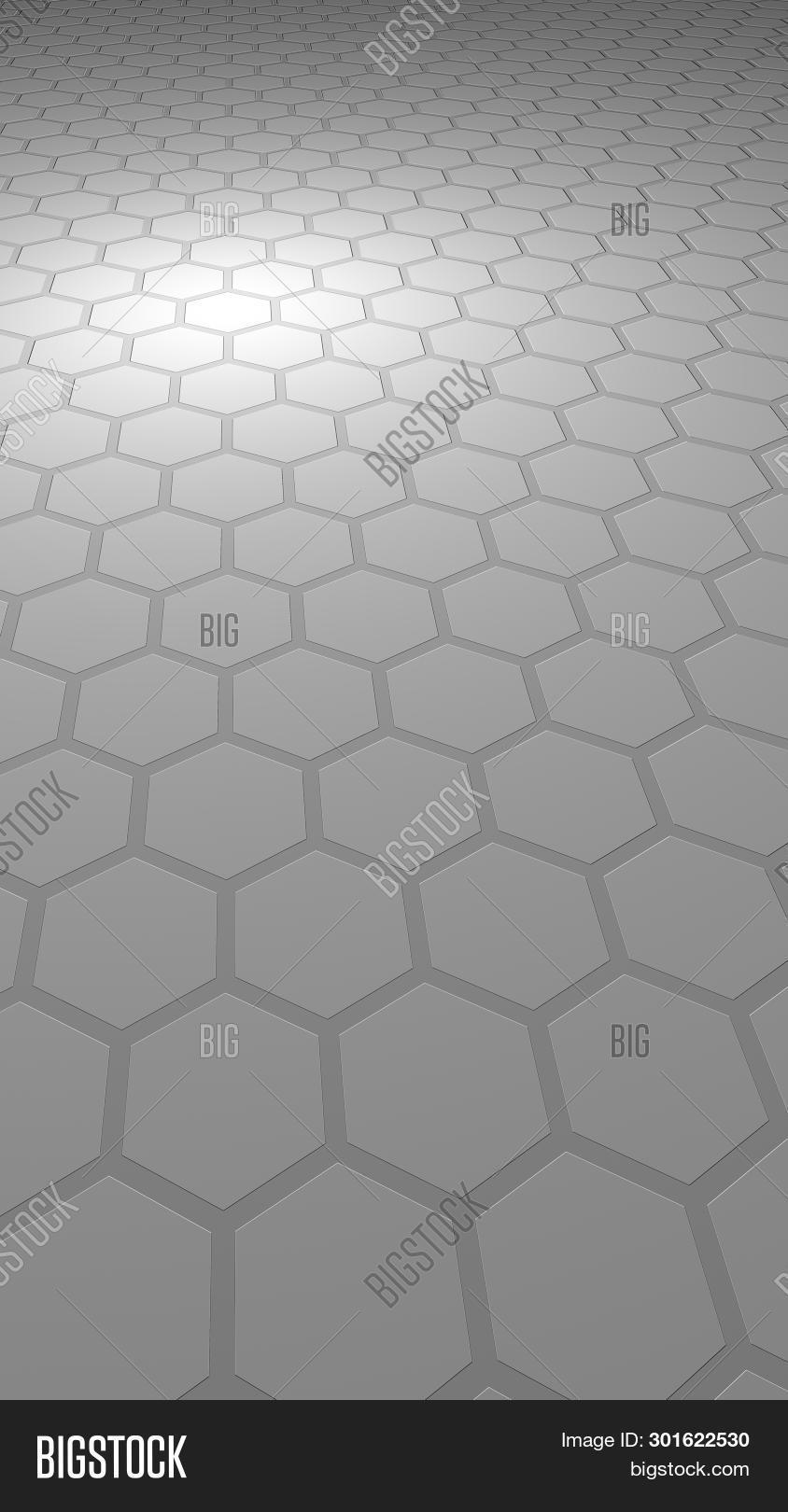 Honeycomb On A Gray Background. Perspective View On Polygon Look Like Honeycomb. Extruded, Bump Cell