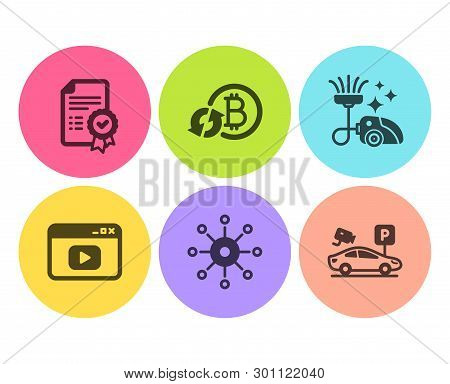 Multichannel, Vacuum cleaner and Refresh bitcoin icons simple set. Certificate, Video content and Parking security signs. Multitasking, Vacuum-clean. Flat multichannel icon. Circle button. Vector stock photo