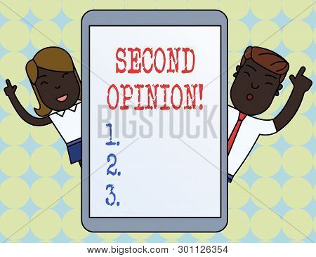 Writing note showing Second Opinion. Business photo showcasing an opinion from a second qualified demonstrating on something. stock photo