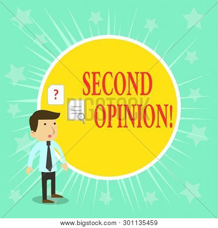 Word writing text Second Opinion. Business concept for an opinion from a second qualified demonstrating on something. stock photo
