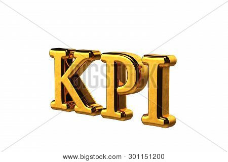 Concept gold abbreviation of KPI - Key Perfomance Indicator isolated on white background without shadows. 3D Render stock photo