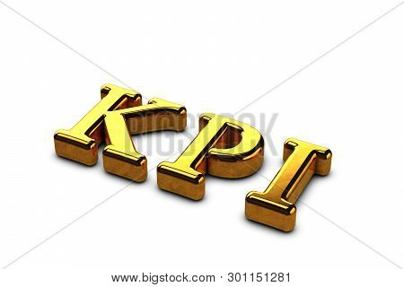 Concept gold abbreviation of KPI - Key Perfomance Indicator isolated on white background with shadows. 3D Render stock photo