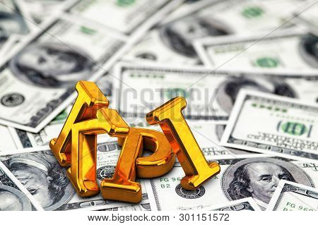 Concept gold abbreviation of KPI - Key Perfomance Indicator standing or lying on banknotes background. 3D Render stock photo