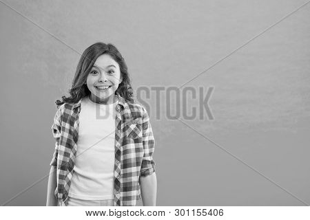 Sincere Excitement. Kid Girl Long Healthy Shiny Hair Wear Casual Clothes. Exciting Moments. Little G