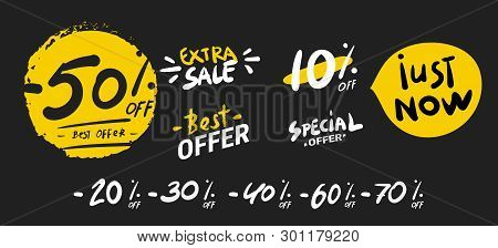 Sale banner. Super mega discounts. Sale arrow tag icons. Discount special offer. 50 , 60 , 70 and 80 percent sale signs. Black friday discounts. Cyber monday. Vector stock photo