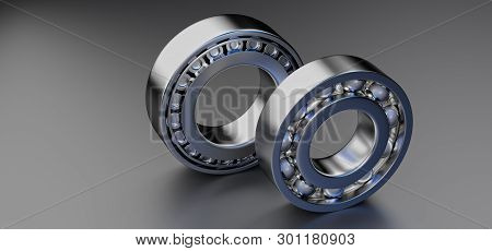 3D rendering. Automotive bearings auto spare parts. Ball bearing on a dark background. Wheel bearing for truck, heavy duty and car. stock photo