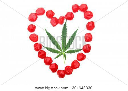 CBD and THC Candy. Recreational THC Candies. Isolated on white. Room for text. Medical CBD Candy. stock photo