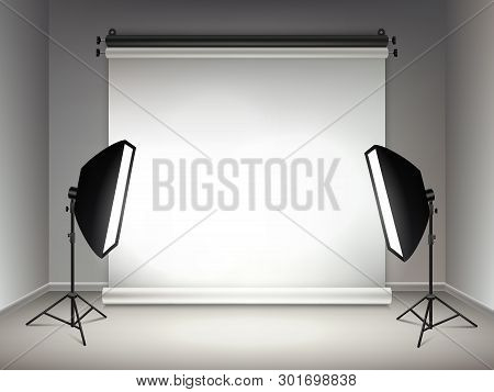 Shining stage. Illumination and glow light effects from projectors softboxes lamps and spotlights vector realistic background. Realistic studio with spotlight and softbox illustration stock photo