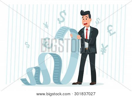 Pay big bill. Businessman holding long bill, shocked by payment amount and paying finance bills cartoon vector stock photo