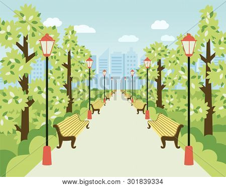Park, Alley With Lanterns, Benches And Green Trees. City Garden, Urban Recreation Area For Relax And
