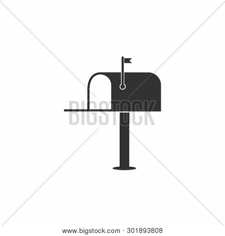 Open mail box icon isolated. Mailbox icon. Mail postbox on pole with flag. Flat design. Vector Illustration stock photo