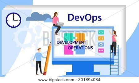 Devops at work concept. DevOps, Development and Operations. Vector illustration Concept with people using DevOps software for social media. Programmer, user administrator, professional stock photo