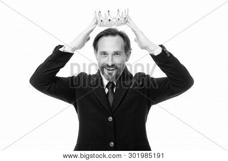 Become next king. Monarchy family traditions. Man nature bearded guy in suit hold golden crown symbol of monarchy. Direct line to throne. Enormous privilege. Become king ceremony. King attribute. stock photo