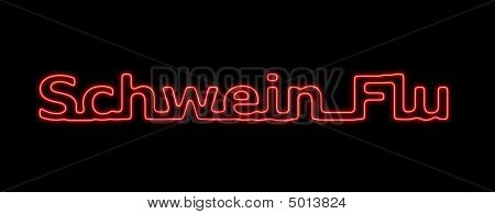 Neon sing about the schwein flu on black background stock photo
