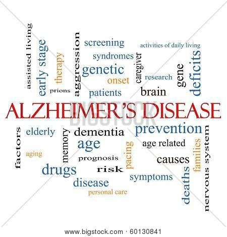 Alzheimer's Disease Word Cloud Concept with great terms such as elderly genetic dementia and more. stock photo