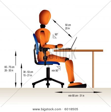 Instruction on how to sit correctly when working in order to avoid diverse health problems. stock photo