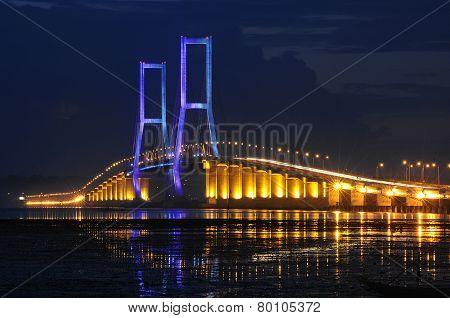 Suramadu bridge that conecting Surabaya City (Java Island) and Madura island at surabaya, East Java, Indonesia stock photo