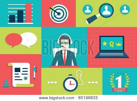 Customer Relationship Management System. Interaction and gamification - vector illustration stock photo