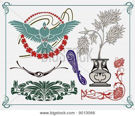treasures of historical design - art-nouveau (based on original) stock photo