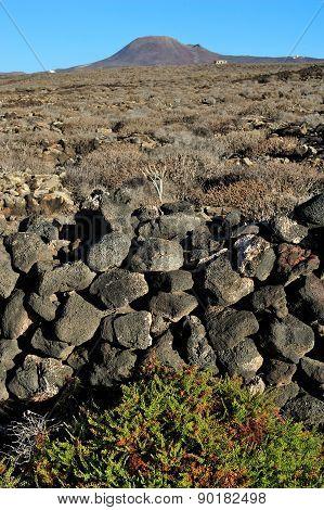 wild volcanic landscape at Malpais de la Corona Lanzarote Island Canary Islands Spain stock photo