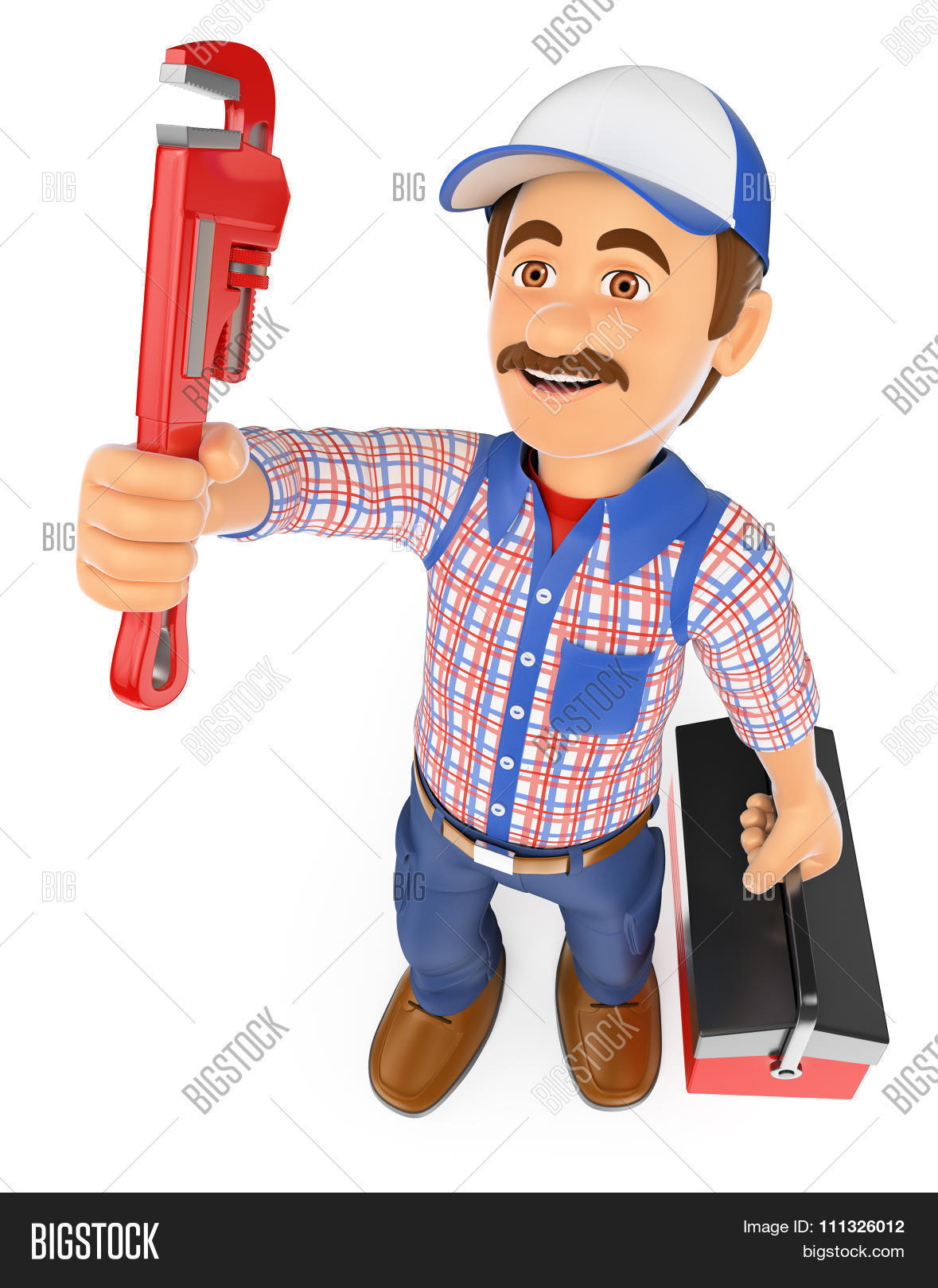 3d working people. Plumber with a pipe wrench and a toolbox. Isolated white background.