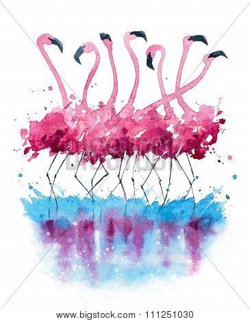 Flamingos watercolor painting-Dishwasher Magnet Skin (size 24x24)