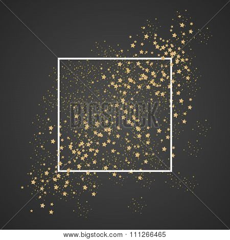 Gold sparkles and stars with white frame on black background. Glitter shimmery cosmic sky for card template, greetings, thank you cards. Copy-space for lettering text. Gold star dust vector. stock photo