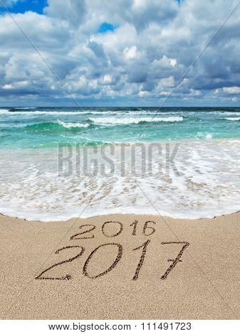 New Year 2016 - 2017 On Ocean Beach Calendar Cover