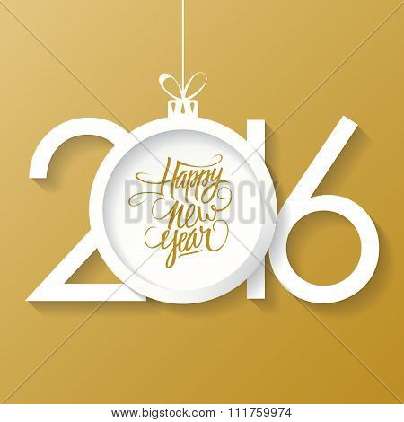 Creative happy new year 2016 text design with christmas ball.