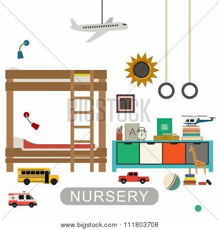 Baby playroom interior with furniture and toys. Vector banner of nursery in flat style. stock photo