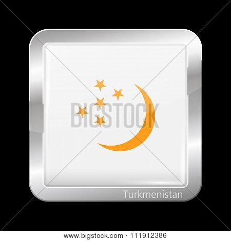 Turkmenistan Variant Flag. Metallic Icon Square Shape. This is File from the Collection Flags of Asia stock photo