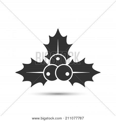 Christmas holly berries icon vector. Simple mistletoe decorative black illustration. stock photo