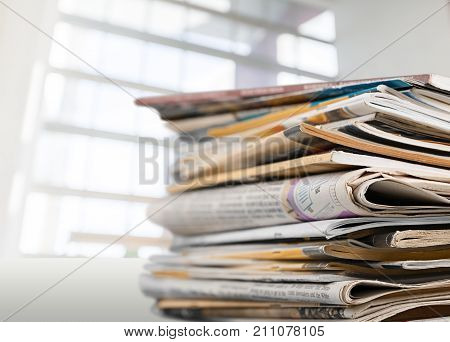 Paper news print pile newspapers print media pile of newspapers