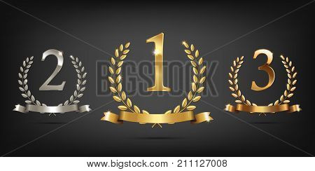 Golden, silver and bronze laurel wreaths with ribbons and first, second and third place signs. Winner podium sports symbols. Vector illustration