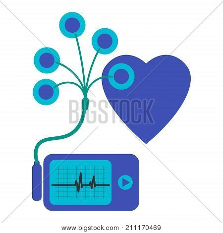 Daily monitoring of ECG. Holter for daily use. The device monitors the bleeding of the heart. And can prevent a heart attack. stock photo