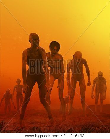 3D render of a crowd of horrific looking zombies coming across a hill. stock photo