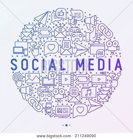 Social media concept in circle with thin line icons: of thumbs up, share, link, send e-mail, music, stream, comments. Vector illustration for banner, web page, print media. stock photo