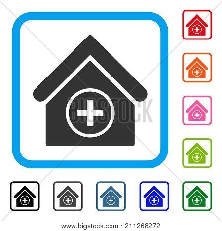 Add Building icon. Flat grey pictogram symbol inside a blue rounded rectangle. Black, gray, green, blue, red, orange color additional versions of Add Building vector. stock photo