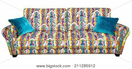 Beautiful sofa with a colorful floral pattern isolated on white background stock photo