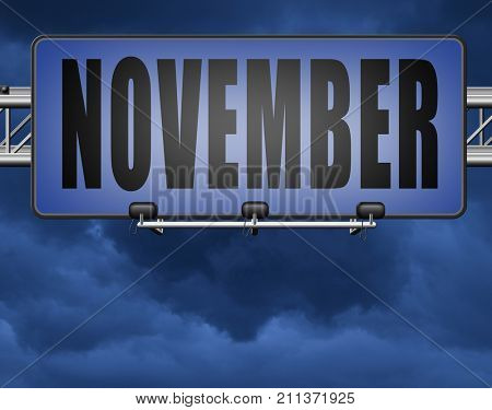 November fall or autumn month or event calendar, road sign billboard. 3D, illustration stock photo
